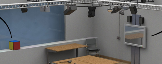 3D render of room showing lighting rig, touch screen and Ensemble sensors
